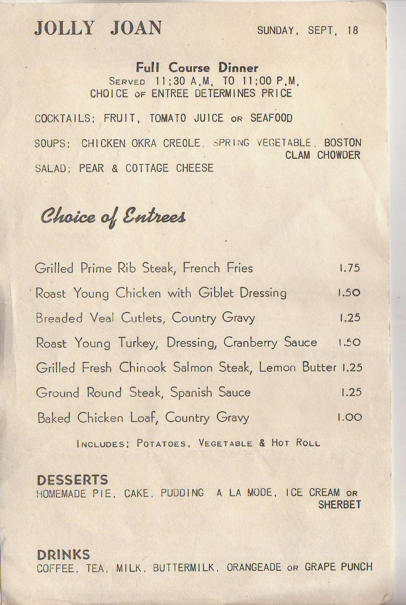 Jolly joan menu