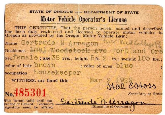 OCCUPATION WAS LISTED ON THE OREGON DRIVERS LICENSE