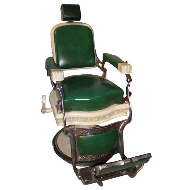 Vintage American barber chair by Ernest Koken with plaque reading
