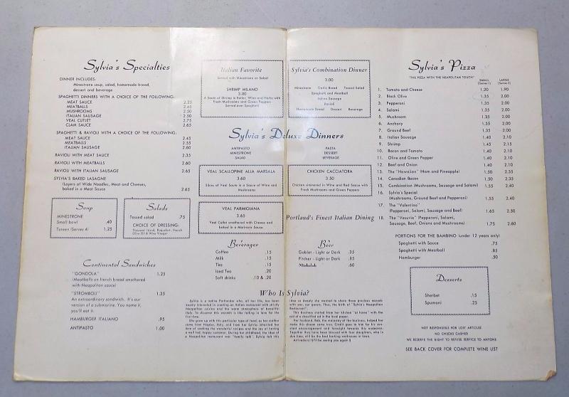 Sylv menu