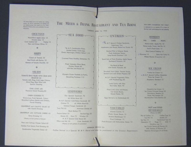 Meier tea room menu