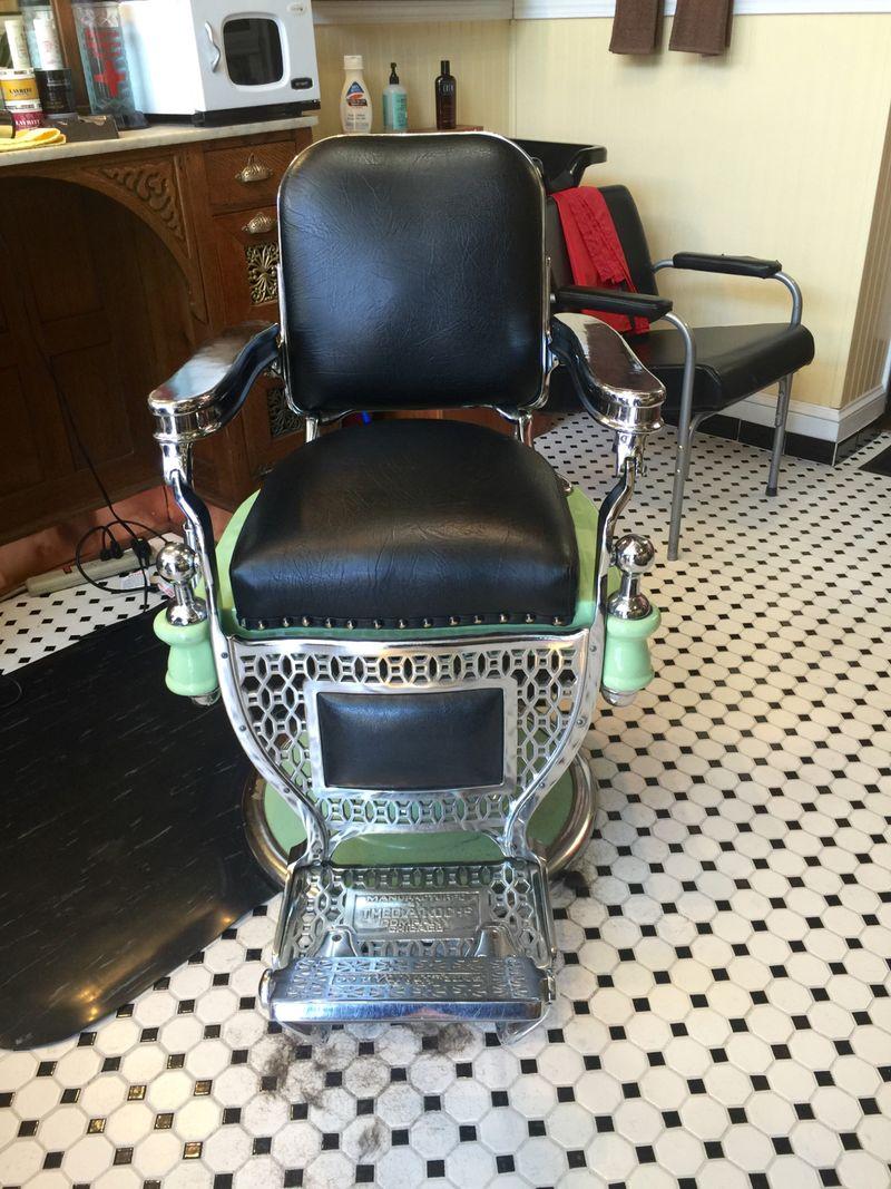 Vintage barber shop chairs - Koken Green