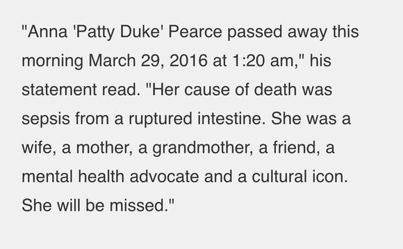 PATTY DUKE DIED!