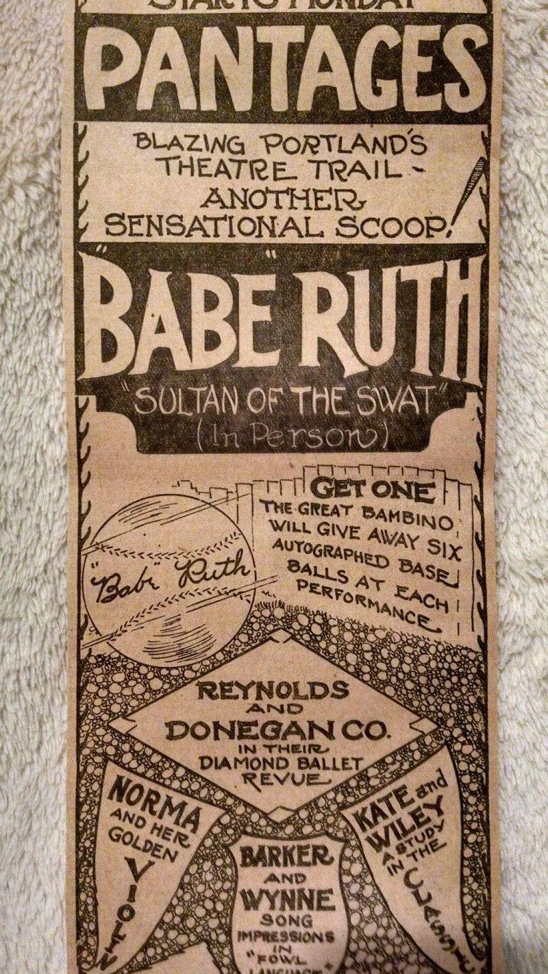 BABE RUTH IN PORTLAND