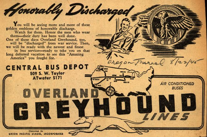 GREYHOUND BUS 1945