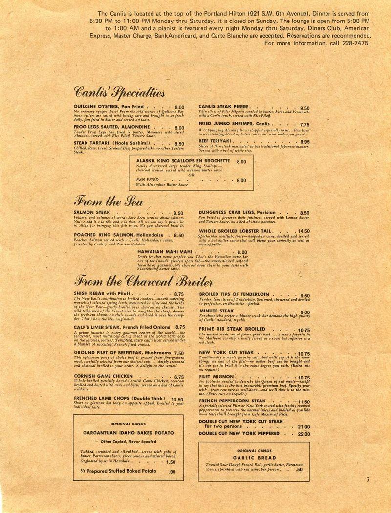 Canlis menu