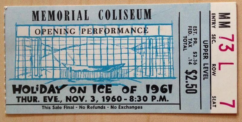 Memorial coliseum opening ticket
