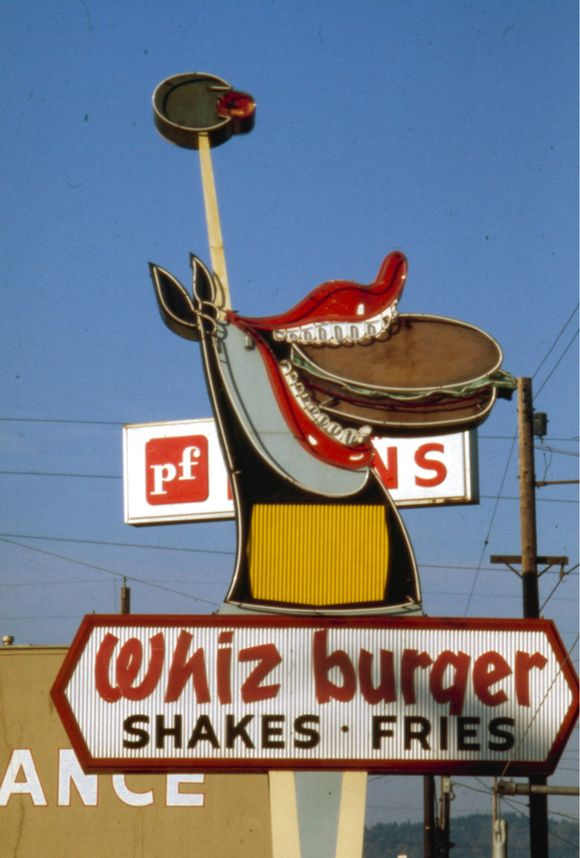 DEAD CENTER IN PHOTO IS WHIZ BURGER