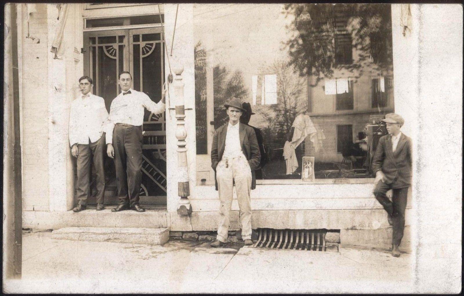 Old barber shop window - Barbers Waiting