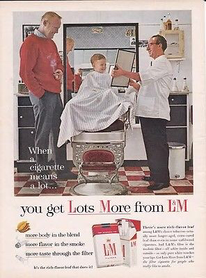 CIG ADS WERE FEATURED MANY TIMES IN BARBER SHOPS