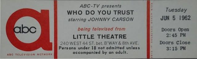 JOHNNY WHO DO YOPU TRUST TICKET