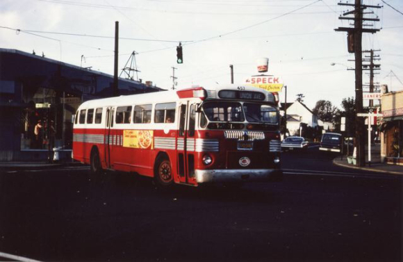 ROSE CITY BUS WITH SPECK IN BACKGROUND
