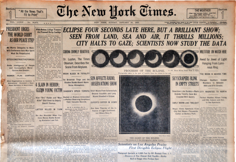 EXLIPSE NY TIMES 1925 USE THIS ONE
